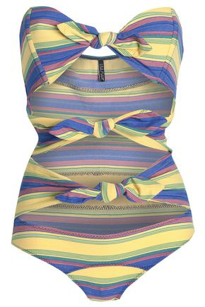 LISA MARIE FERNANDEZ Tie-front striped cotton-blend swimsuit