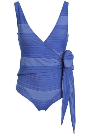 LISA MARIE FERNANDEZ Bow-detailed stretch-cotton wrap swimsuit