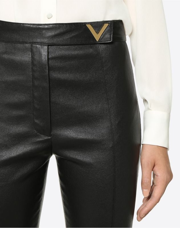Stretch Nappa Trousers with Gold V Details