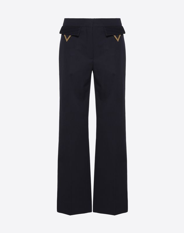 Wool Gabardine Pants with Gold V Details