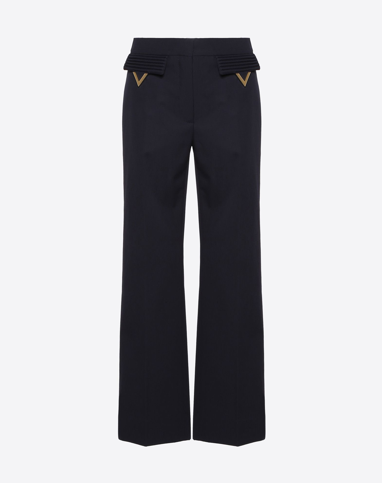 Wool Gabardine Trousers with Gold V Details