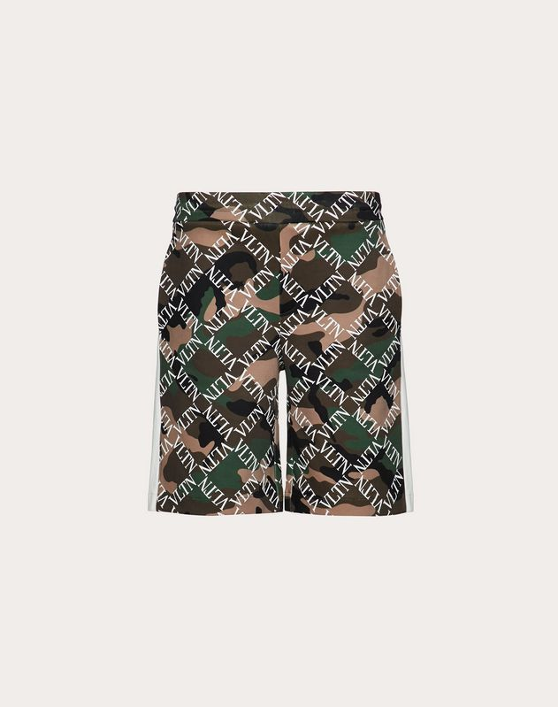 CAMOUFLAGE BERMUDA SHORTS WITH VLTN GRID PRINT