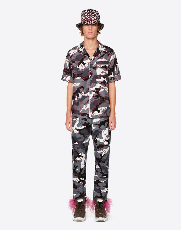 CAMOUFLAGE CARGO TROUSERS WITH VLTN GRID PRINT