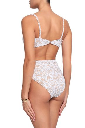 NORMA KAMALI Stretch-lace high-rise bikini briefs