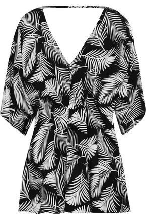 ONIA Alessandra shirred printed voile coverup