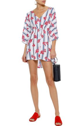 ONIA Alessandra shirred printed poplin cover-up