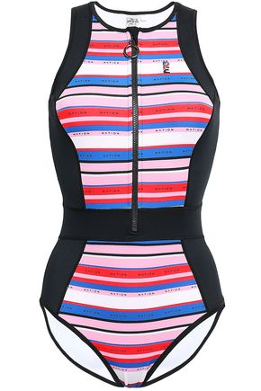 P.E NATION STriped neoprene swimsuit