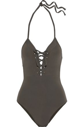 JETS AUSTRALIA by JESSIKA ALLEN Jetset Plunge lace-up halterneck swimsuit