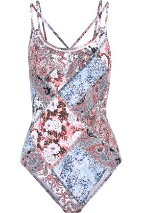 JETS AUSTRALIA by JESSIKA ALLEN Cutout printed patchwork-effect swimsuit