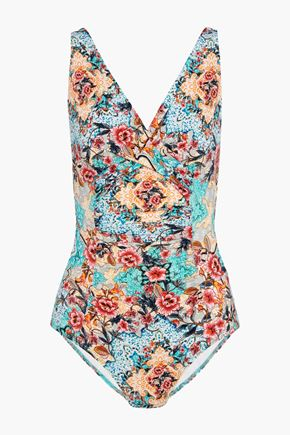JETS AUSTRALIA by JESSIKA ALLEN Gathered printed swimsuit