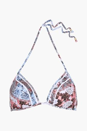 JETS AUSTRALIA by JESSIKA ALLEN Poetic crochet-trimmed printed triangle bikini top