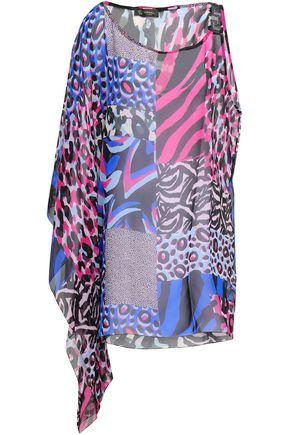 VERSACE Embellished leopard-print silk-chiffon coverup