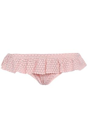 MELISSA ODABASH India ruffled crocheted low-rise bikini briefs