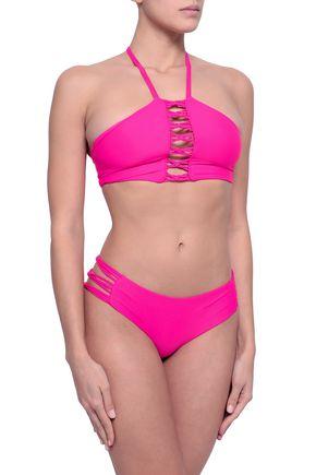MIKOH Lattice-trimmed halterneck bikini top