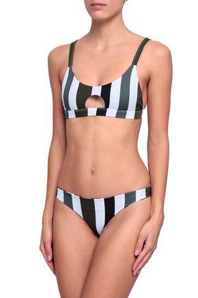 MIKOH Colombia cutout striped bikini top