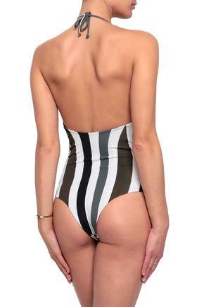 MIKOH Luana ruched striped halterneck swimsuit