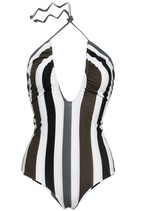 MIKOH Luana ruched striped halterneck swimsuit