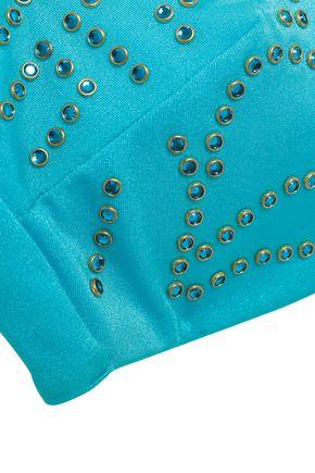 VERSACE Crystal-embellished bandeau bikini top