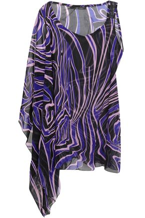 VERSACE Mesh-trimmed printed chiffon coverup