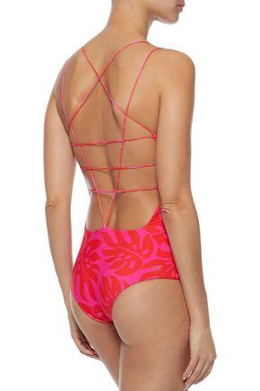 MIKOH Kilauea cutout printed swimsuit