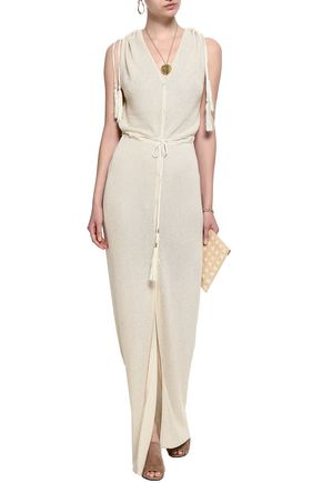 MELISSA ODABASH Tasseled metallic crochet-knit maxi dress