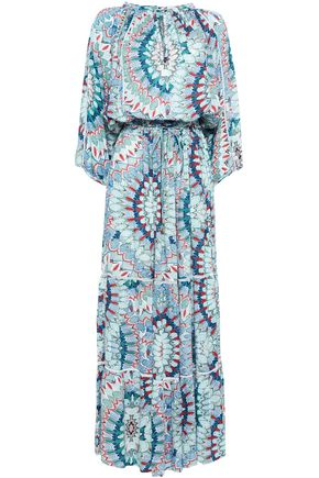 MELISSA ODABASH Tiered printed piqué coverup