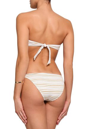 MELISSA ODABASH Aruba metallic striped low-rise bikini briefs