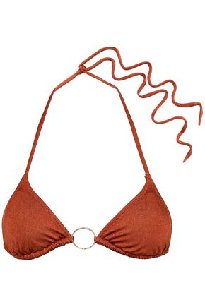 MELISSA ODABASH Miami ring-embellished printed triangle bikini top