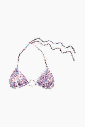 MELISSA ODABASH Embellished printed triangle bikini top