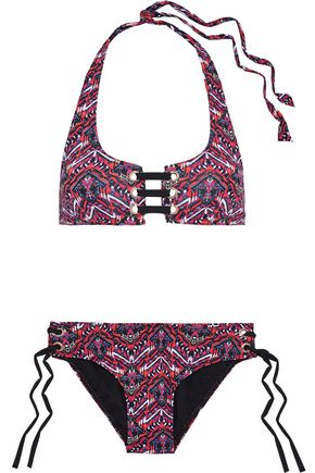 TART COLLECTIONS McKinley lace-up printed halterneck bikini