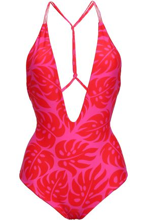 MIKOH Africa knotted printed swimsuit