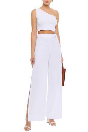 ALIX Button-embellished linen wide-leg pants