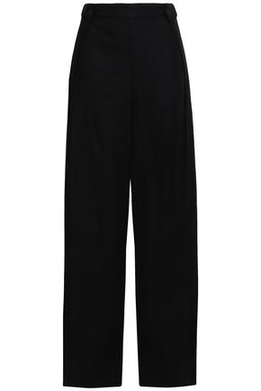 ALIX Button-embellished linen wide-leg pants