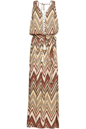 MELISSA ODABASH Lace-up herringbone woven maxi dress