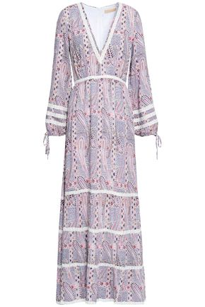 MELISSA ODABASH Crochet-trimmed printed voile maxi dress