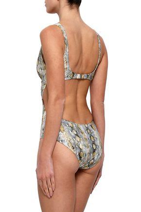 MELISSA ODABASH Snake-print cutout swimsuit