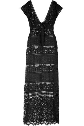 MIGUELINA Lace-up macramé maxi dress
