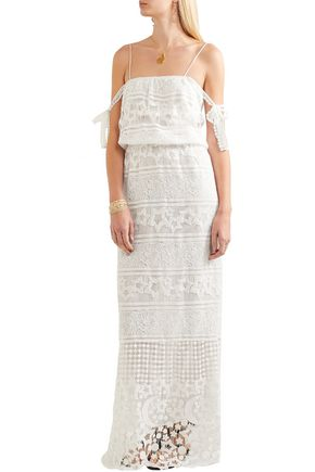 MIGUELINA Rylan bow-detailed guipure lace maxi dress