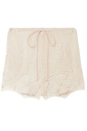 MIGUELINA Cotton macramé lace shorts