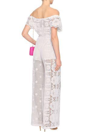MIGUELINA Off-the-shoulder macramé cotton jumpsuit