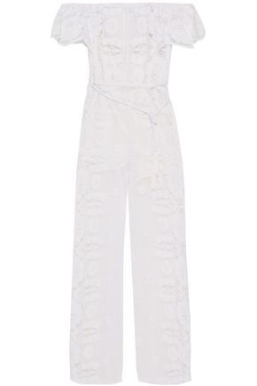 MIGUELINA Brisa belted off-the-shoulder cotton-guipure lace jumpsuit