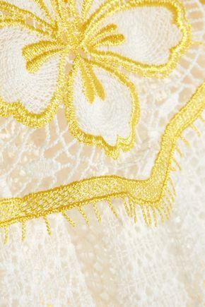 MIGUELINA Off-the-shoulder cotton macramé lace coverup