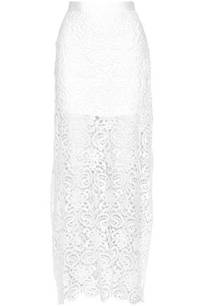 MIGUELINA Cotton macramé lace maxi skirt