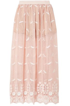MIGUELINA Paris embroidered cotton macramé lace maxi skirt