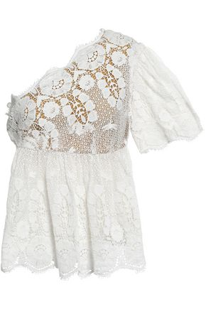 MIGUELINA Eleanor one-shoulder cotton guipure lace top