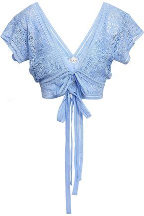 MIGUELINA Estella bow-detailed crochet-knit top