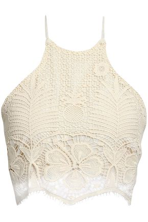 MIGUELINA Noel cropped cotton lace halterneck top