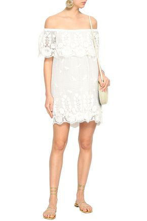 MIGUELINA Angelique off-the-shoulder crocheted cotton mini dress