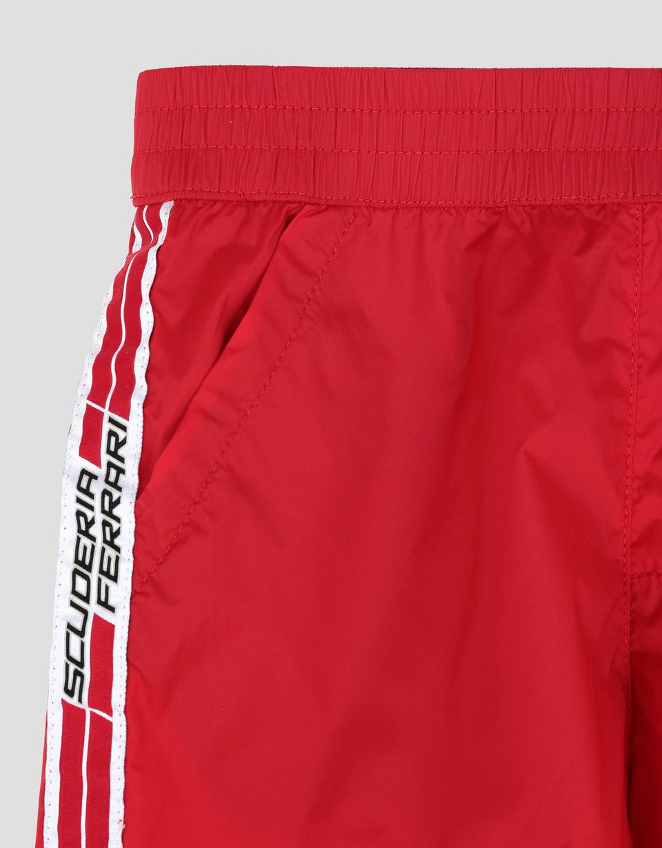 Scuderia Ferrari Online Store - Boys swimsuit with Scuderia Ferrari Icon Tape - Swimming Shorts