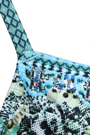 CAMILLA Crystal-embellished printed bikini top